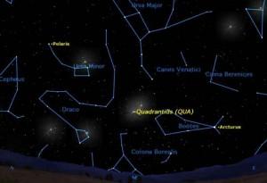 Квадрантиды на карте звездного неба 2012