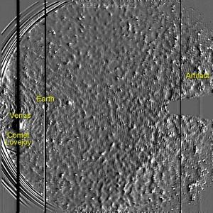 """Cнимок """"загадочного объекта"""", полученный STEREO-B в конце декабря 2011г."""