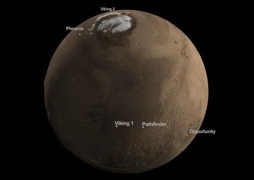 Места посадок NASA-вских марсоходов