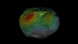 Распределение водорода на поверхности астероида Веста