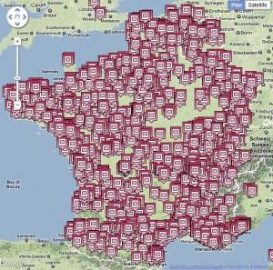Распространение решеток по Франции
