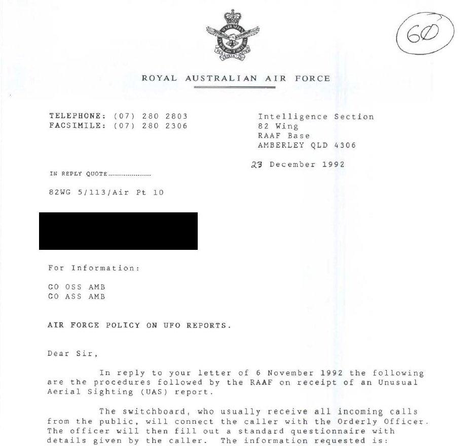Пакет документов об НЛО. Национальный архив Австралии