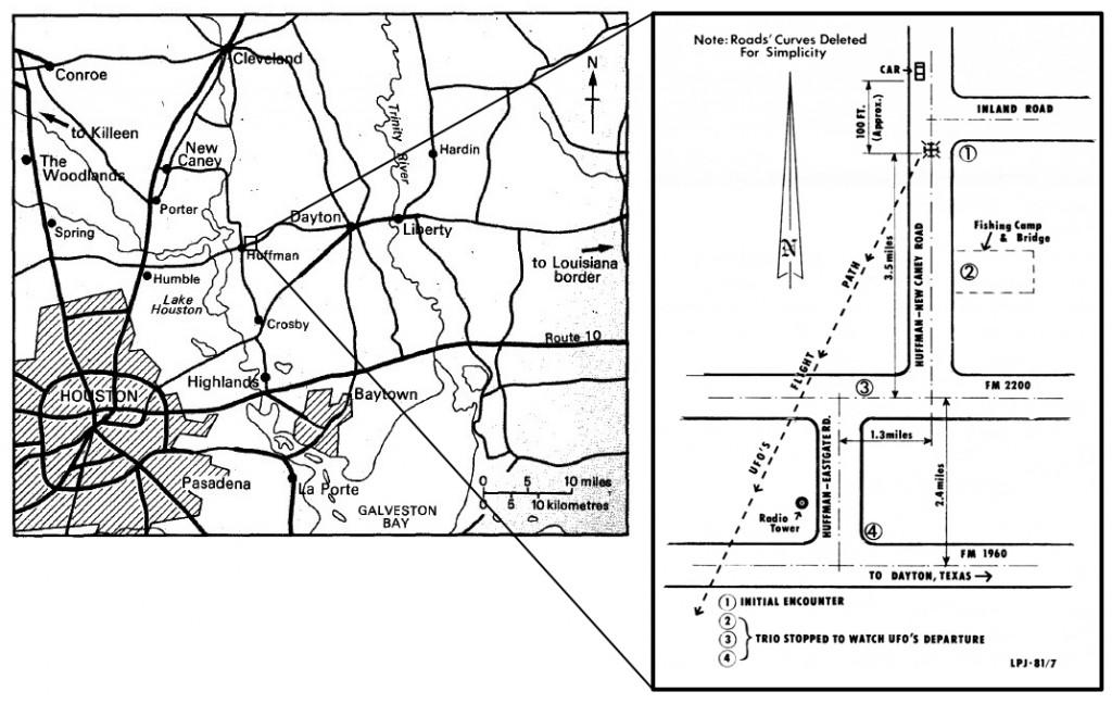 Место происшествия и траектория отлета НЛО.
