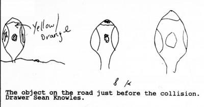 Зарисовки НЛО, сделанные водителем машины Шоном Ноулзом