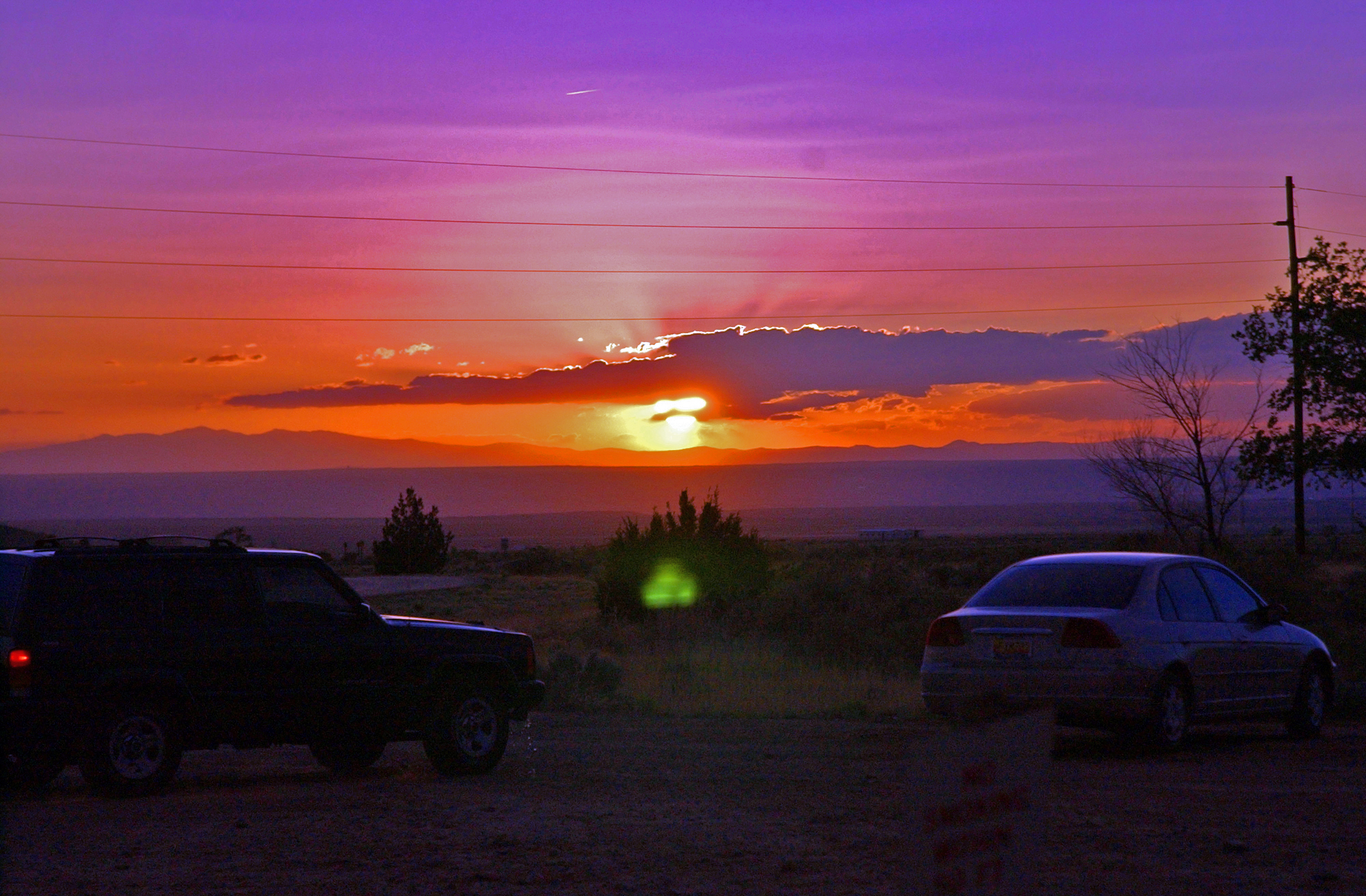 A typical high desert sunset at Kirtland Air Force Base, New Mexico.