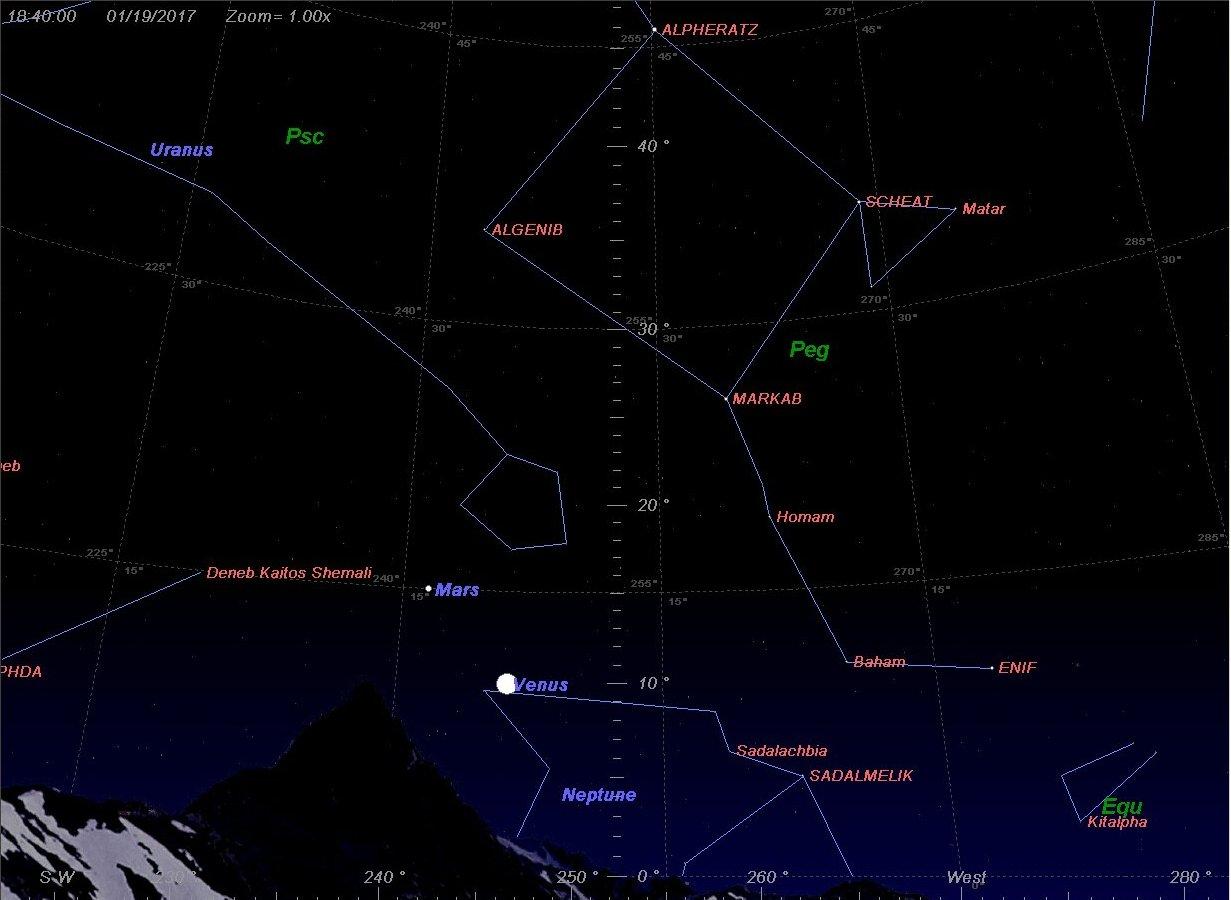 Венера на небе 19.01.2017 в 18:40, г.Омск
